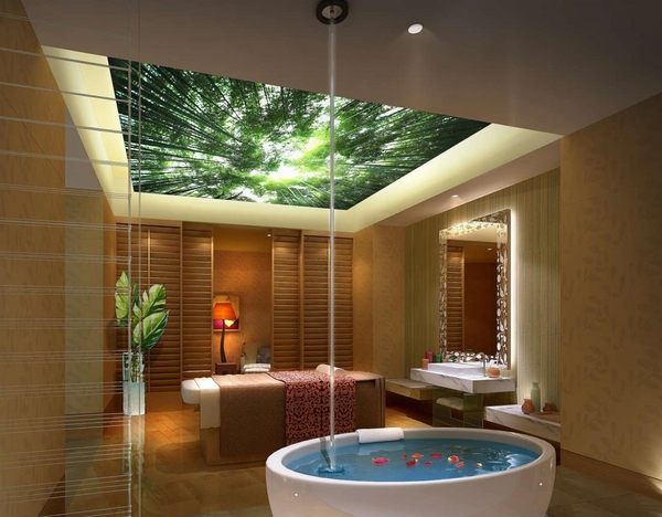 stretch ceiling spa bathroom ideas
