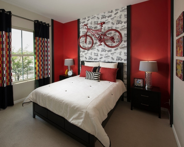 contemporary teenage room for boys red accent wall bycicle