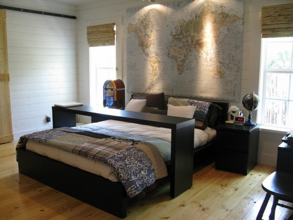 awesome modern teenage room for boy world map accent wall