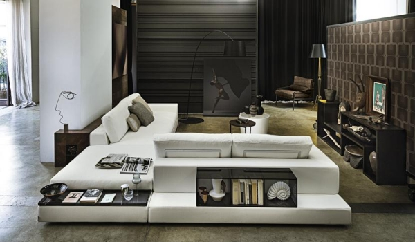 contemporary living room furniture sectional sofa white upholstery