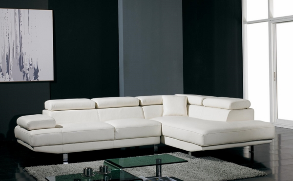 white leather sectional sofa minimalist interior