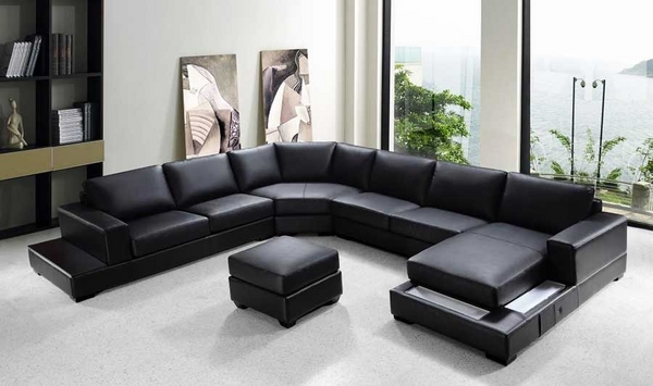 modern black leather sectional sofa living room design ideas