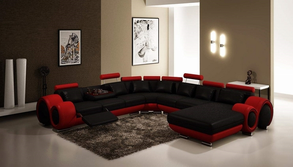 Modern sectional sofas red black furniture ideas