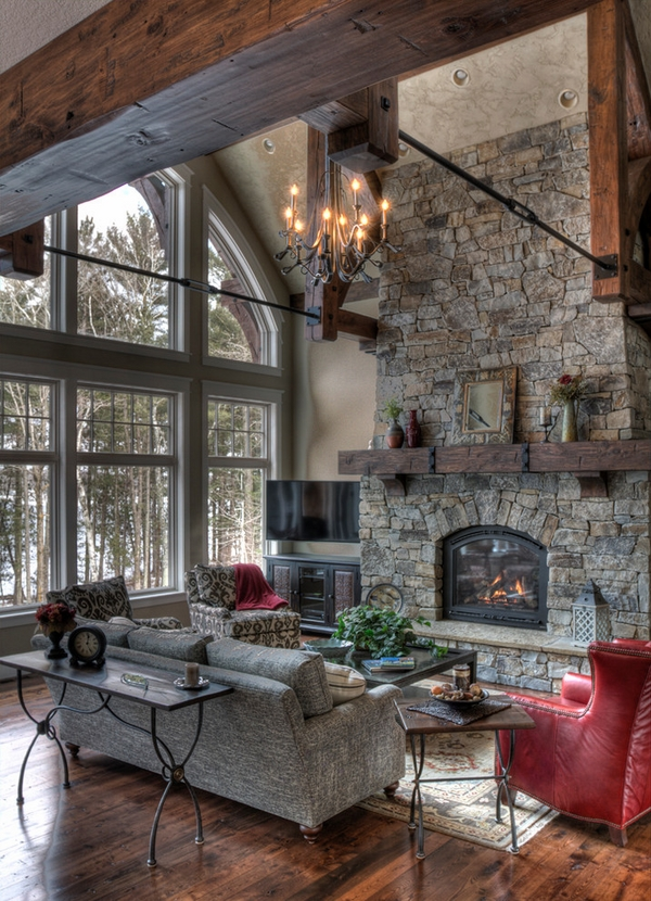 Rustic- fireplace-mantels-wood natural stone living room decorating ideas