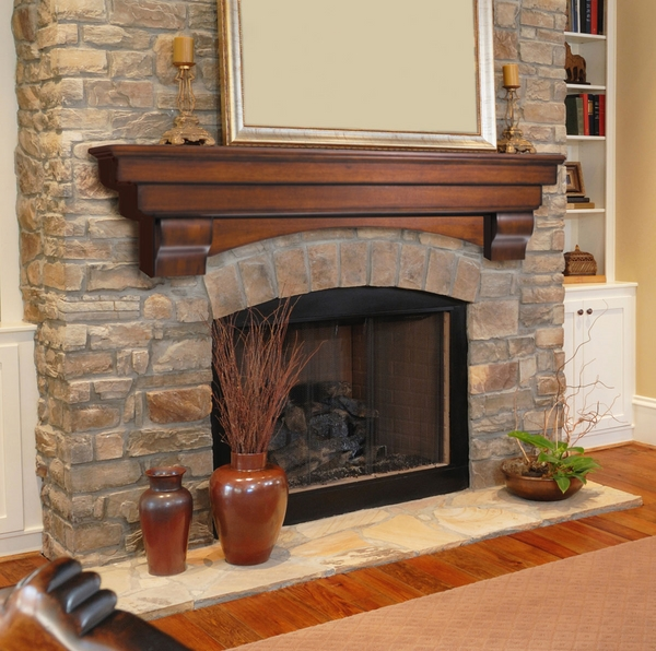 wood-fireplace-mantel-shelf natural stone fireplace surround