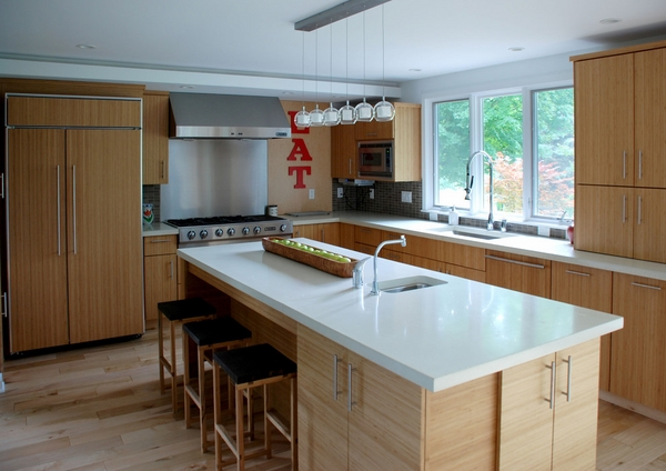Contemporary bamboo cabinets white