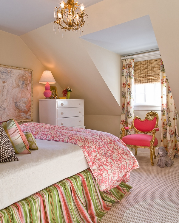 attic bedroom colorful bed skirt interior decoration