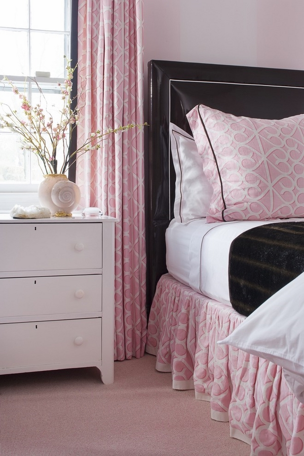 teen girl bedroom decor pink white bed skirt window curtains
