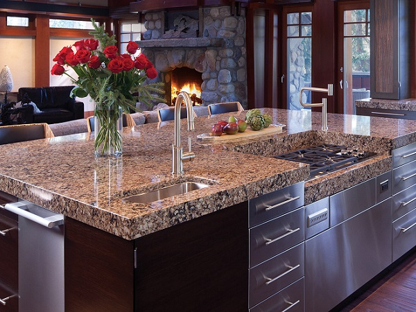 open plan kitchen beautiful cambria quartz countertop modern island