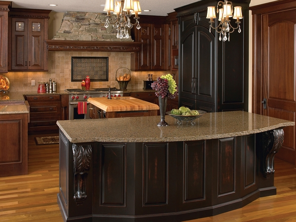 quartz countertops traditional interior wood cabinets