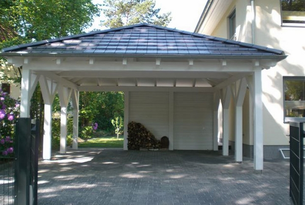 wooden carport two cars driveway
