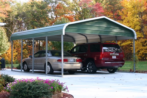 Metal steel carports two cars house exterior