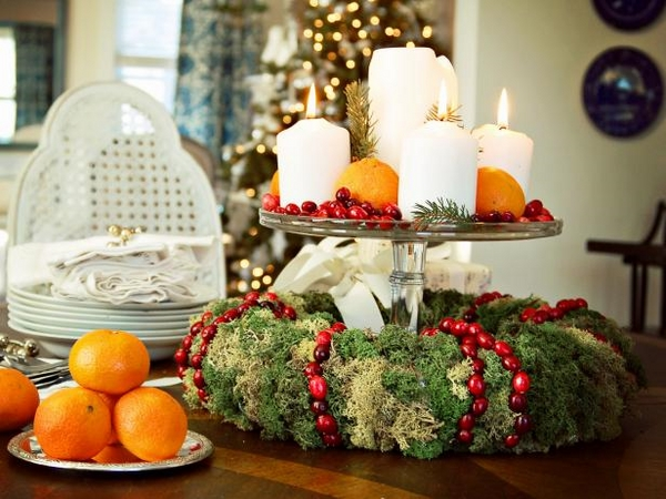 Christmas table wreath centerpiece candles clementines