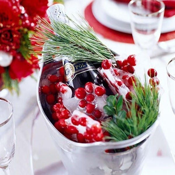 iced cranberries and champaigne