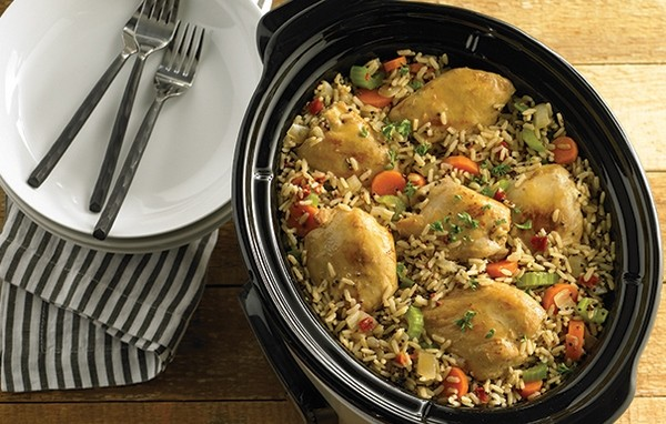 slow cooker chicken thighs recipes rice and vegetables