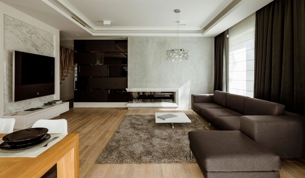 contemporary living room brown white color palette shaggy rug