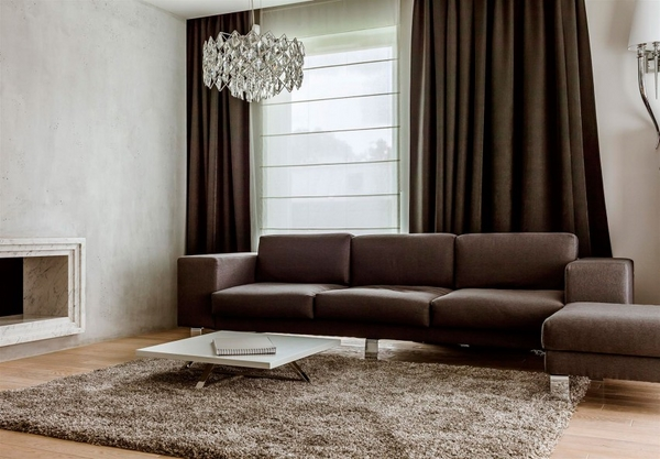 modern living room dark brown sofa curtains