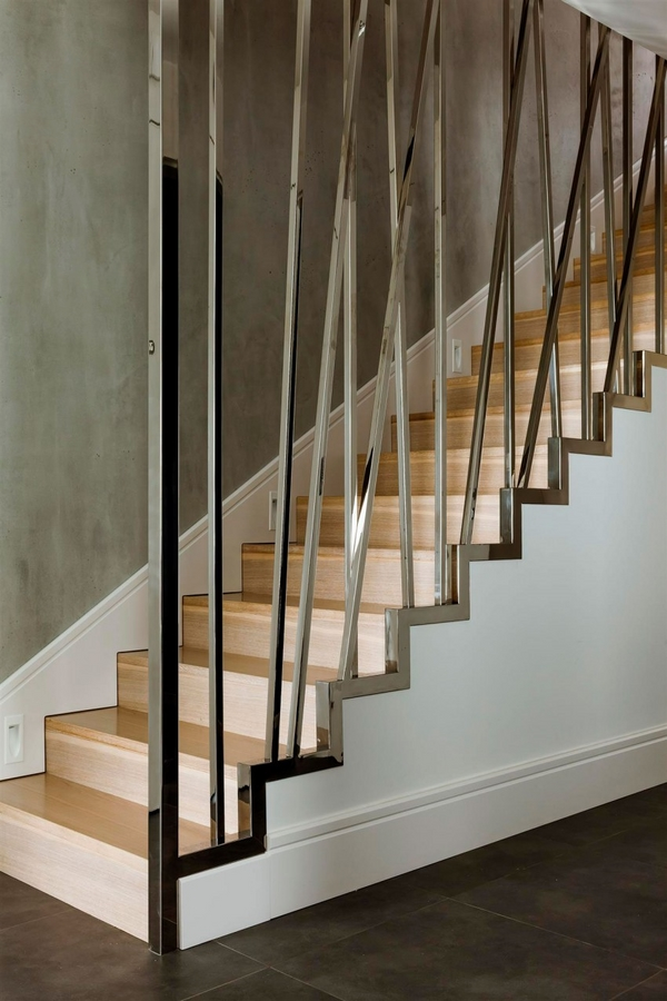 interior staircase sculptural metal railing