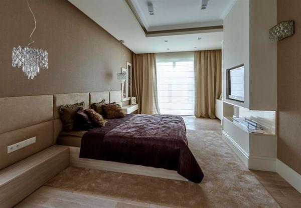 contemporary apartment master bedroom brown shades