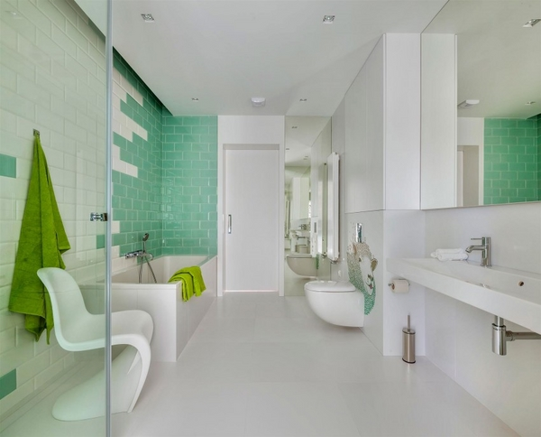 bathroom white furniture green accents