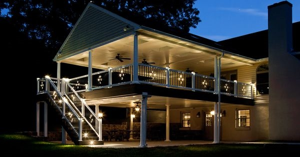 balusters raised deck railing system outdoor lighting