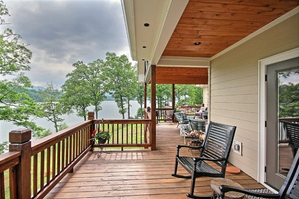 wood deck balusters outdoor furniture panorama view