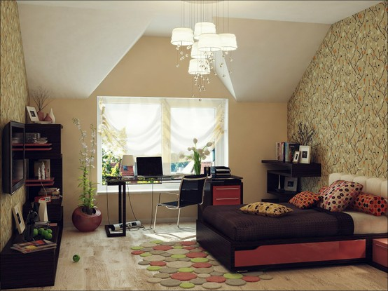 attic sloping ceiling wallpaper floral pattern chandelier