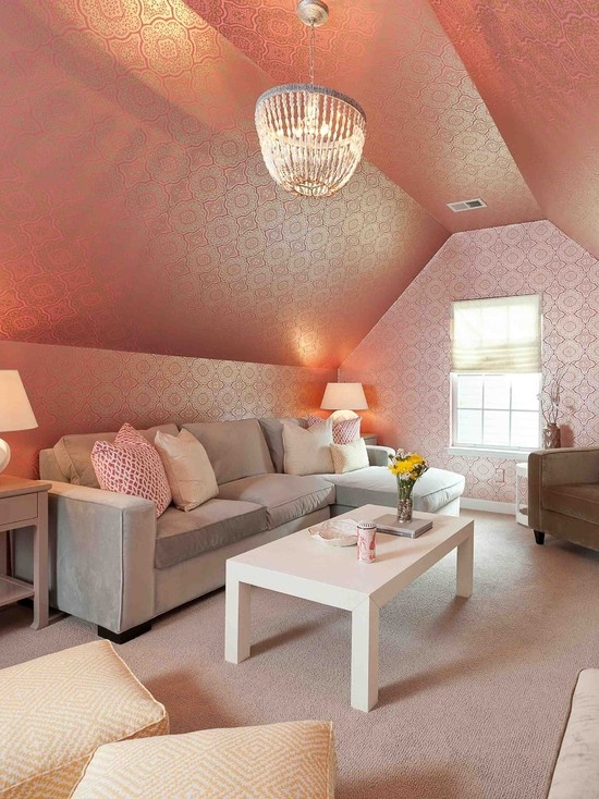pink sloping chandelier