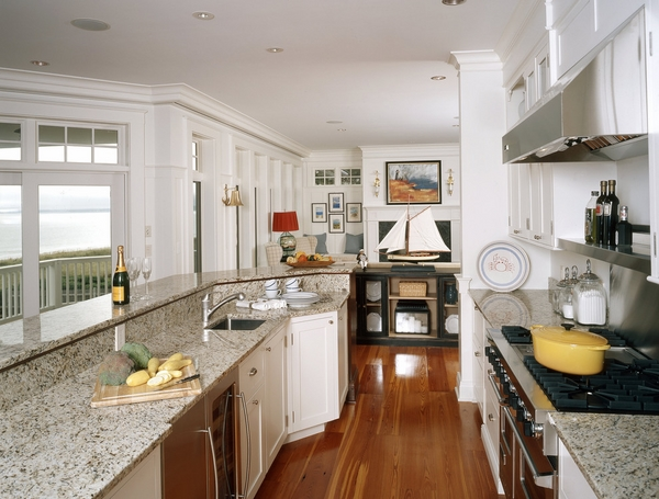 small kitchen long narrow kitchen ideas Giallo Ornamental granite countertops