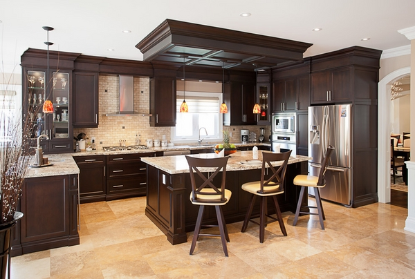 countertops kitchen cabinets dark brown