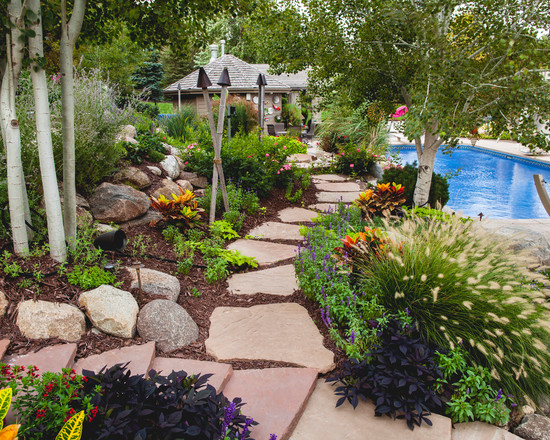 tropical plants garden with pool sandstone path