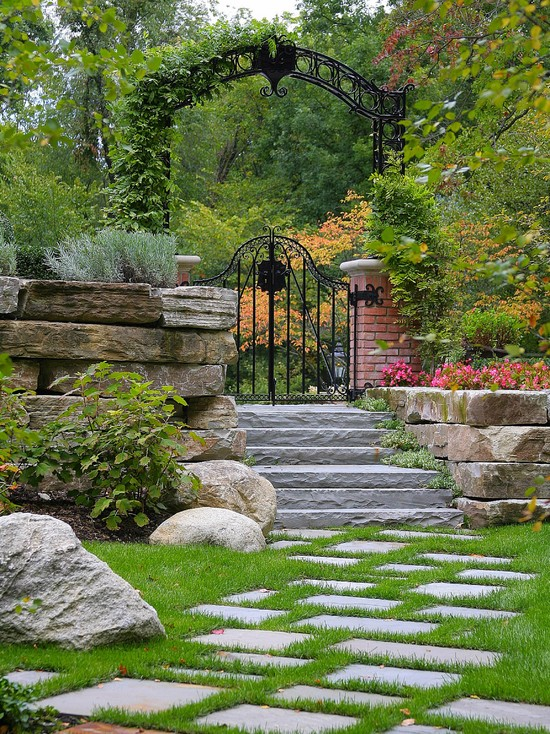 Landscape country house decorative metal gate stone wall path