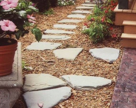 ideas natural stone path potted plants