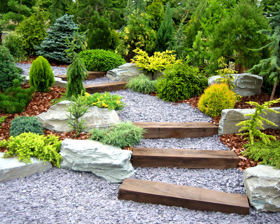 gravel wood stairs plants