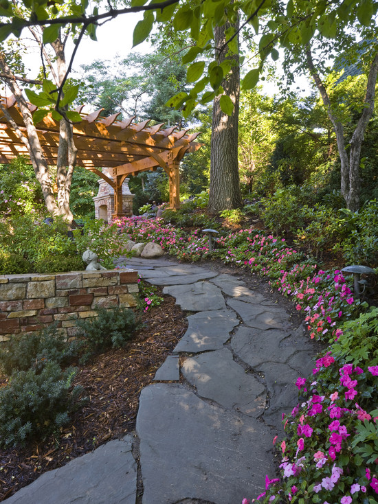 landscape ideas country style covered wooden pergola stone