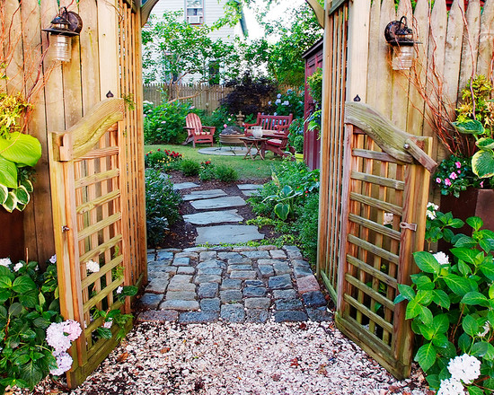 Garden decoration ideas country style gate stone pathway