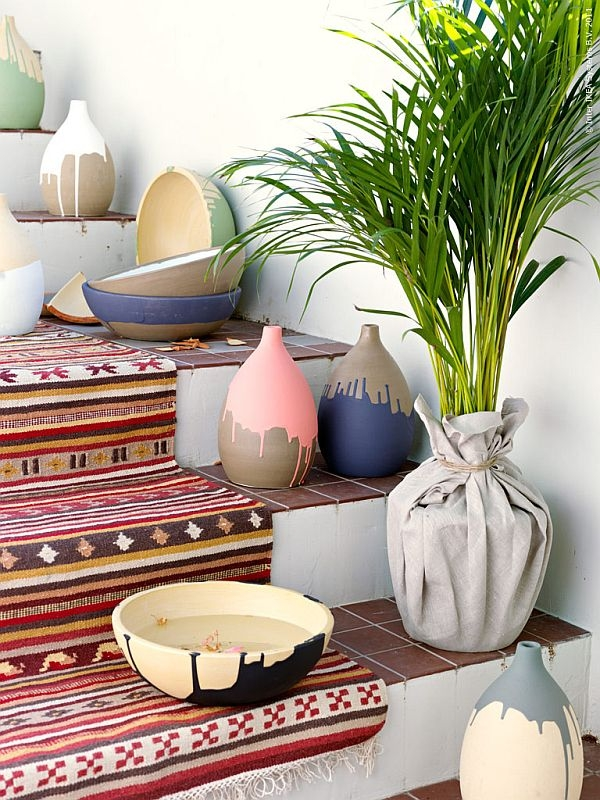 stairs decorating ideas DIY flower pots