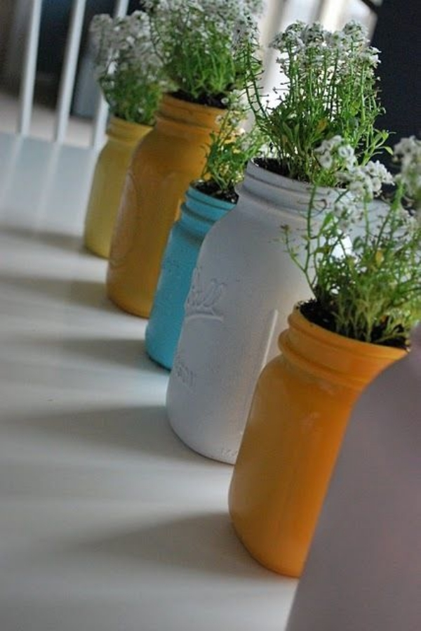 colored glass jam jars ideas for