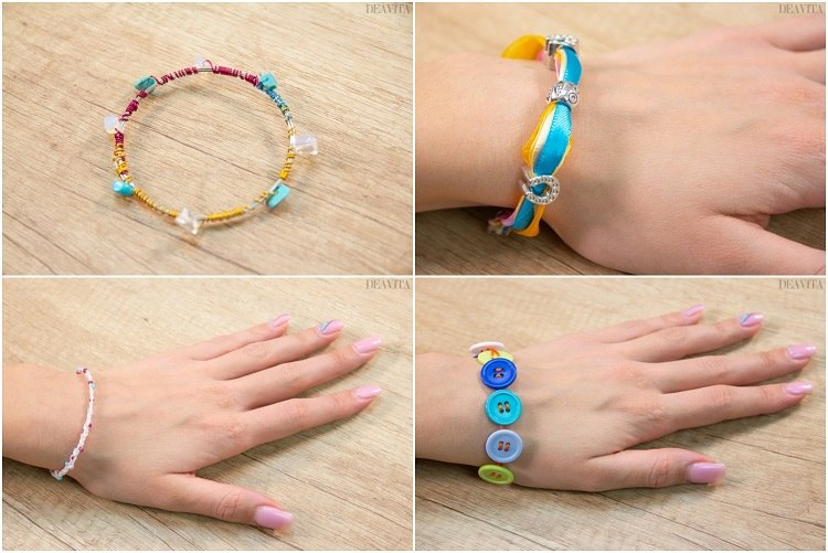 DIY bracelet ideas jewelry crafts with buttons beads ribbons