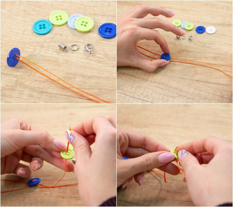 DIY waxed cotton thread and buttons bracelets ideas tutorial