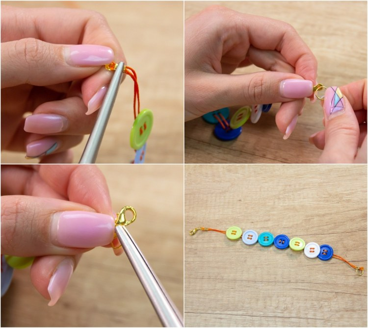 DIY bracelets ideas cotton thread and buttons step by step instructions