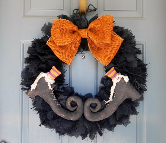DIY halloween decor ideas witch shoes