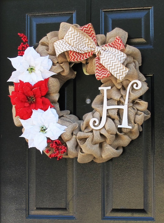 DIY Christmas front door decoration white red colors