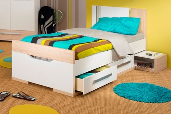 A bed with drawers is a good space saving idea