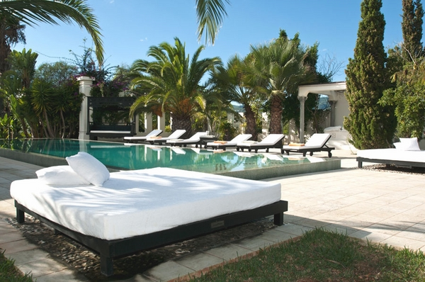 luxury villa Ibiza outdoor furniture daybeds lounge chairs pool