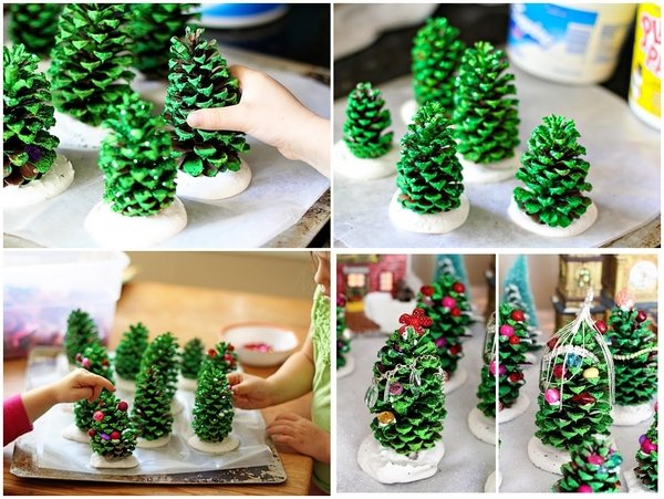 DIY Christmas tree from pinecones kids holiday activities