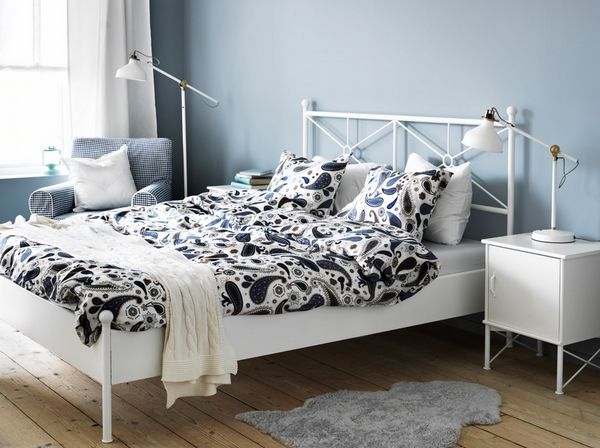 white bedroom furniture IKEA light blue wall color
