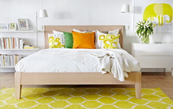 2014 Ikea sets wooden bed frame white side table