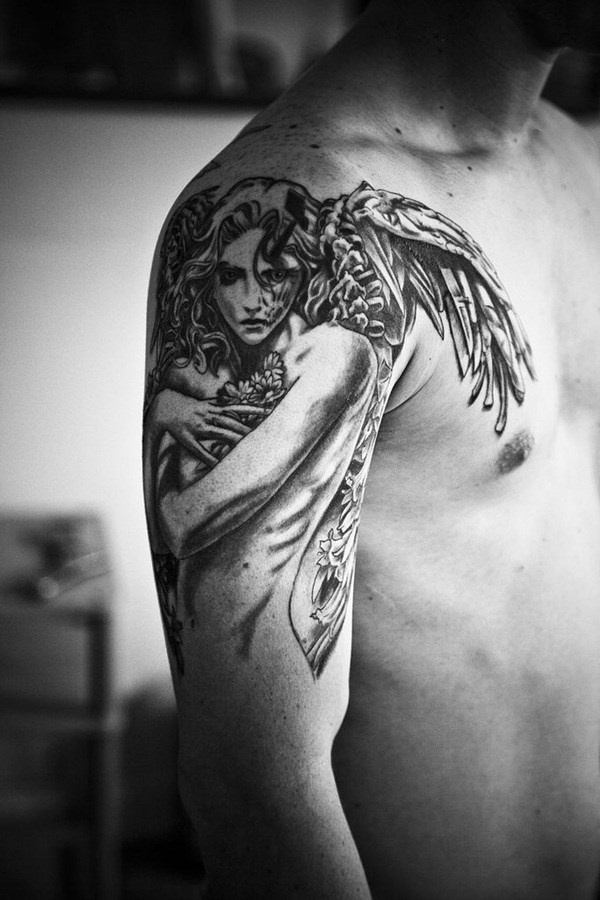 angel tattoo designs and ideas for men