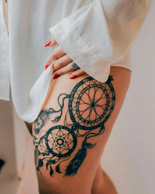 thigh tattoo ideas for women dream catcher with feathers